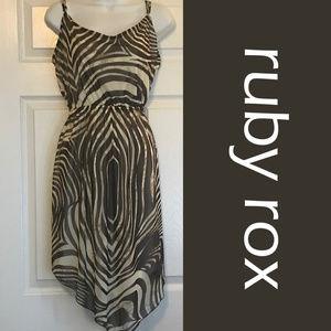Tiger Print Asymmetrical Midi Dress - L